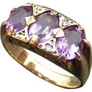 Vintage Mid Century Amethyst and Diamond Ring