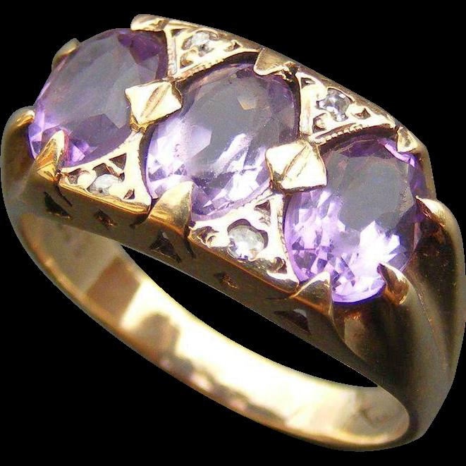 Vintage Mid Century Amethyst and Diamond Ring