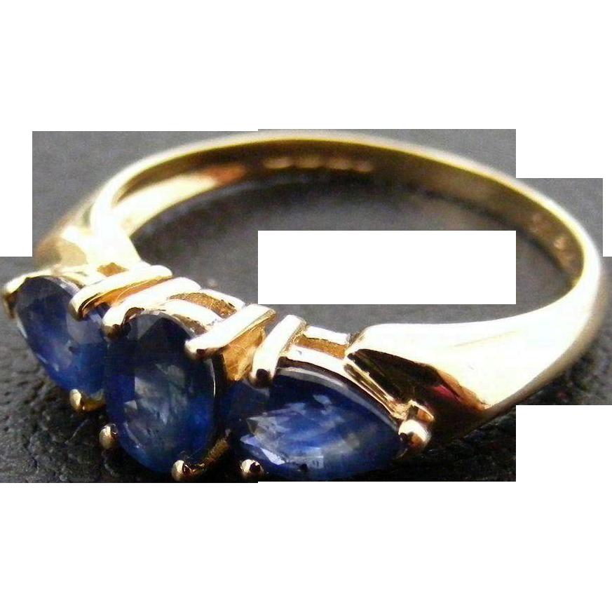 Vintage Blue Sapphire Trilogy Ring, 14 k Gold