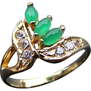Art Deco Era Green Chrysoprase and Diamond Ladies Ring