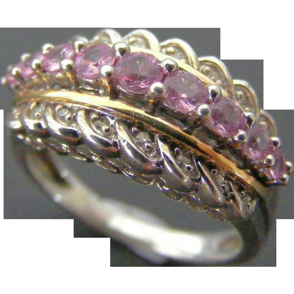 Edwardian Pink Sapphire and Diamond Ladies Ring, 14 k White Gold