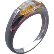 Vintage Unisex Signet Ring, 18 k White Gold and Citrine
