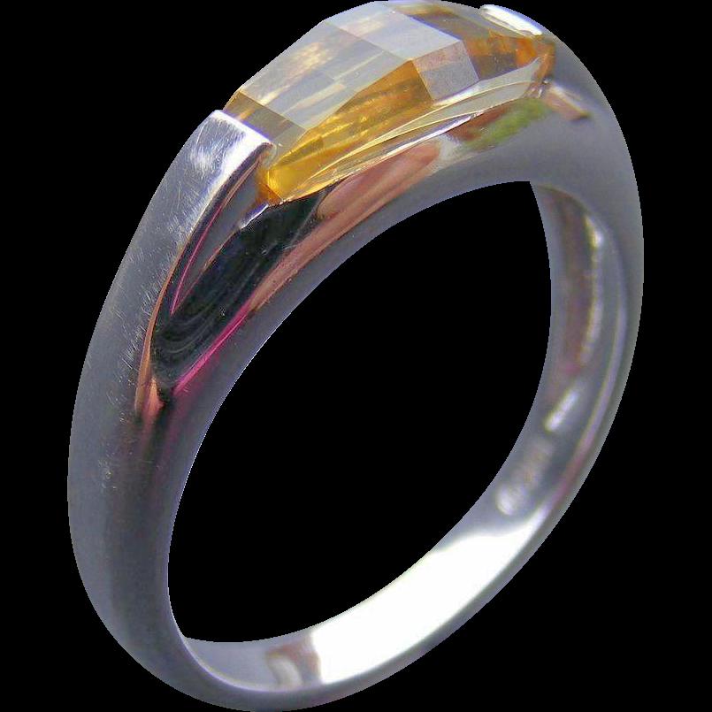 Vintage Unisex Signet Ring, 18 k White Gold and Citrine