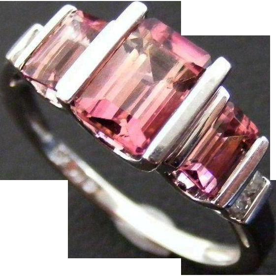 Vintage Mid Century Modern Pink Tourmaline and Diamond Ring, 14 k White Gold