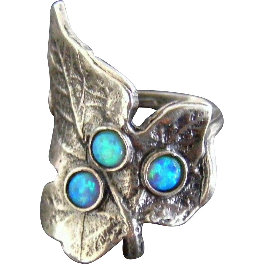 Arts and Crafts Black Opal and Sterling Silver Leaf Ring