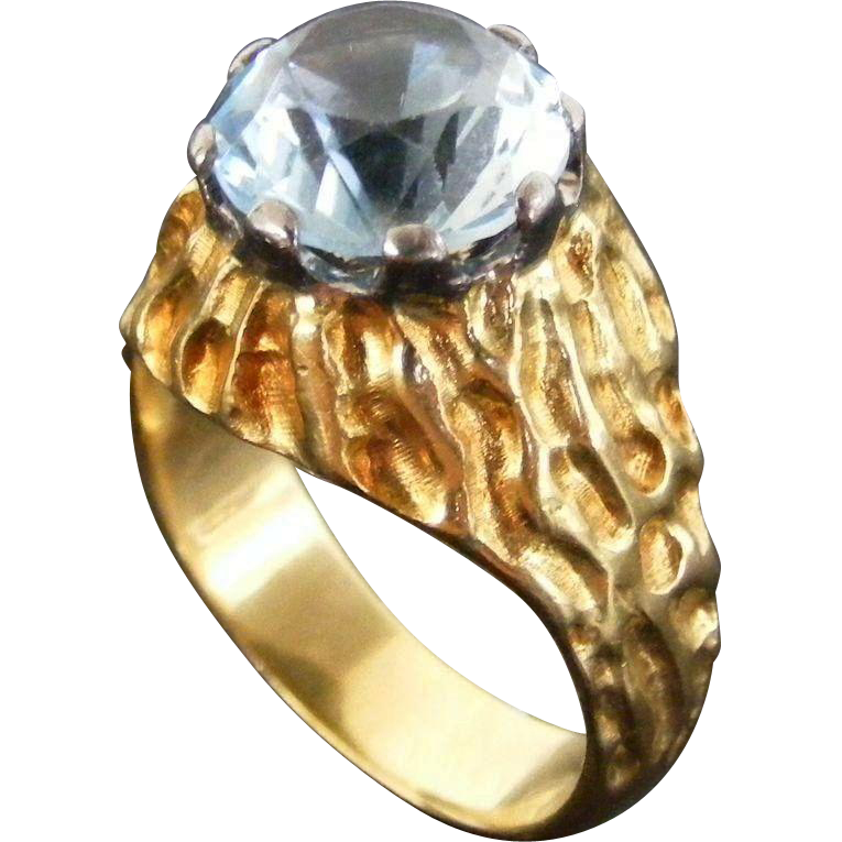 Men's Vintage Mid Century Ring with Blue Topaz, 18 k Gold