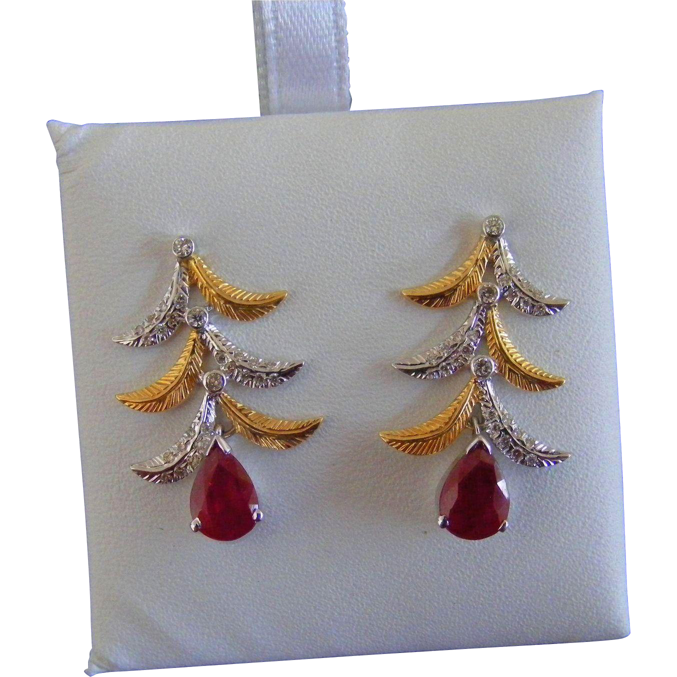 Vintage Ruby and Diamond Earrings, 18 k Gold