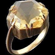 Antique 6 carat Hexagonal Shaped Yellow Citrine Ring