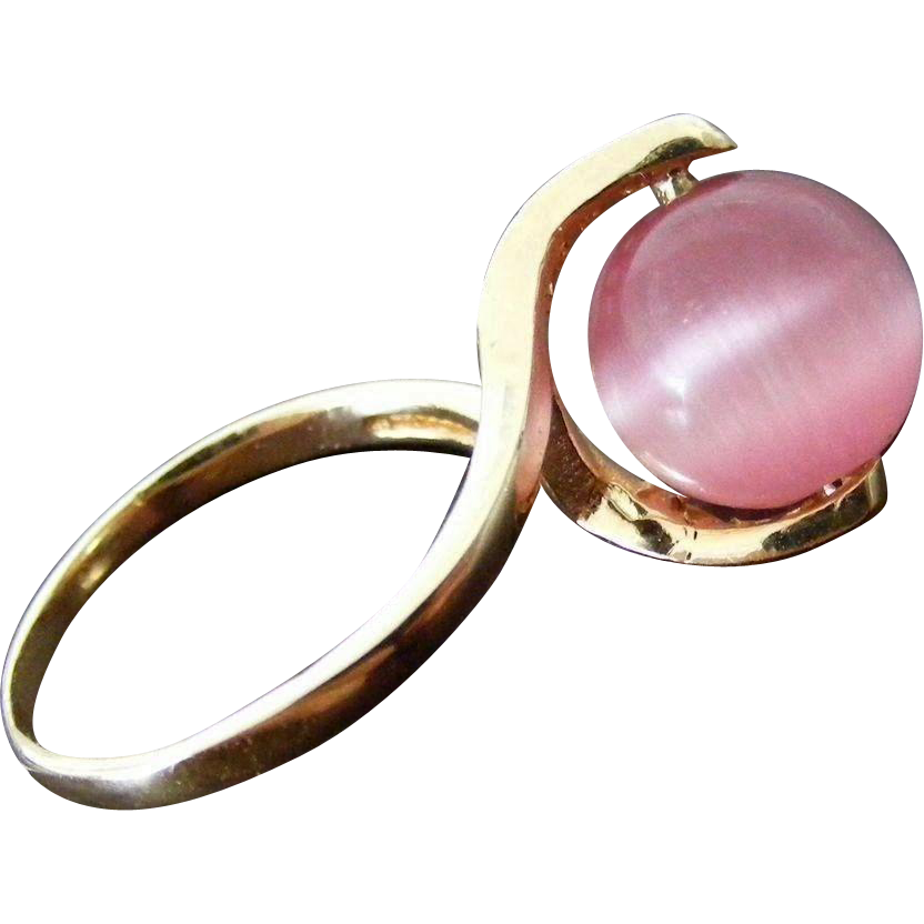 Mid Century Modern Pink Cat's Eye and Diamond Ring