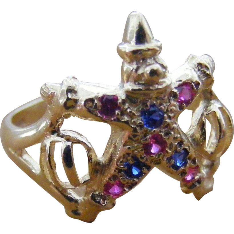 Vintage English Clown Ring with Pink and Blue Sapphires