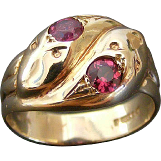 Large Antique British Twin Serpent Ring with Garnet, Chester 1888