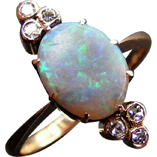 Edwardian Black Opal and Diamond Navette Dress Ring, 15 k Rose Gold