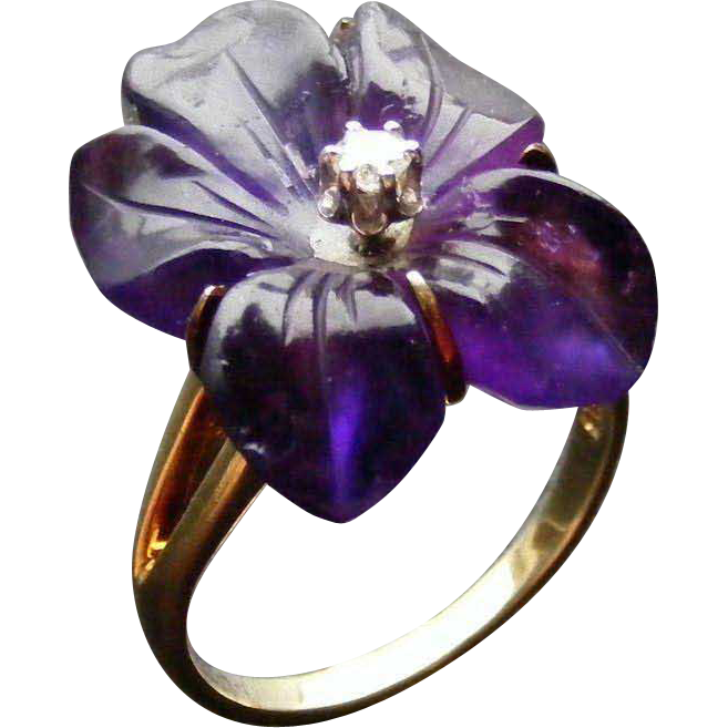 Mid Century Carved Amethyst and Diamond Ring, 14 k Gold