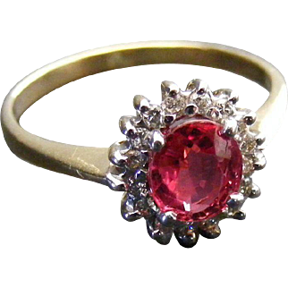 Mid Century Ruby and Diamond Cluster Ring, 14 k Gold