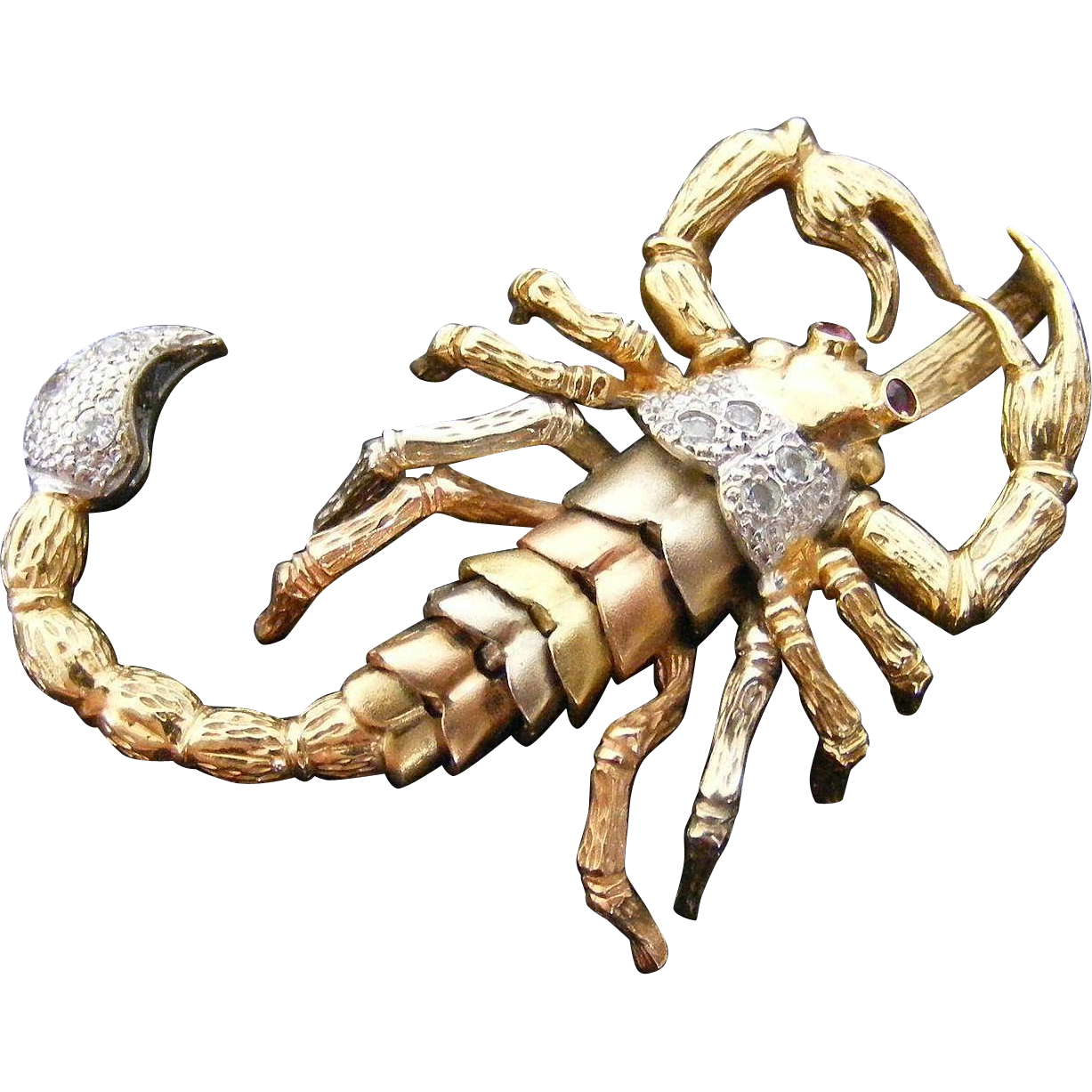 Large Articulated Scorpion Pendant,  Ruby and White Sapphire Detail, 18 k Gold