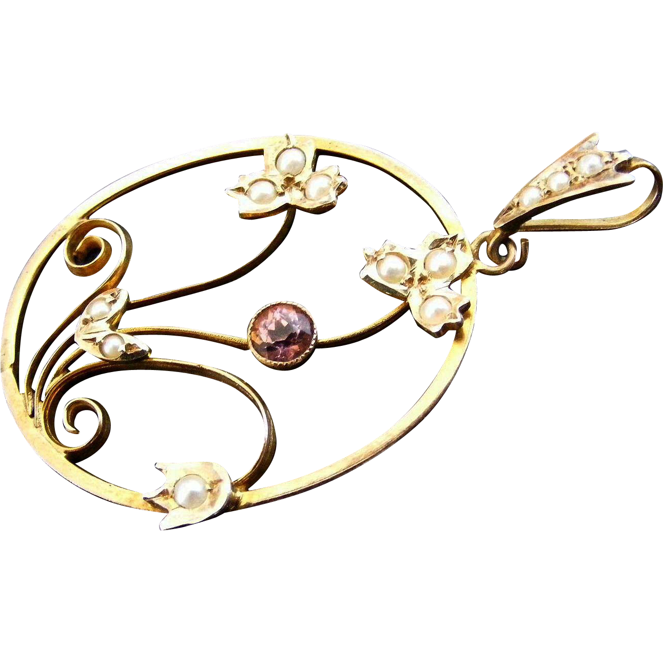 Large Art Nouveau Floral Pendant Seed Pearl and Pink Zircon