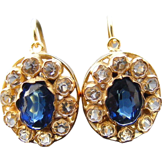 Antique Victorian Paste Cluster Earrings 18 k Yellow Gold
