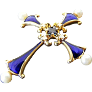 Vintage Blue Enamel, Diamond, Sapphire and Pearl Cross, 18 k Yellow Gold