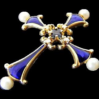 Vintage Blue Enamel, Diamond, Sapphire and Pearl Cross, 18 k Yellow Gold
