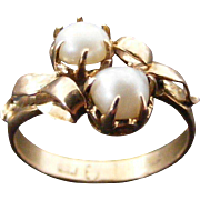 Antique Natural Pearl Cross Over Dress Ring, 18 k Light Rose Gold