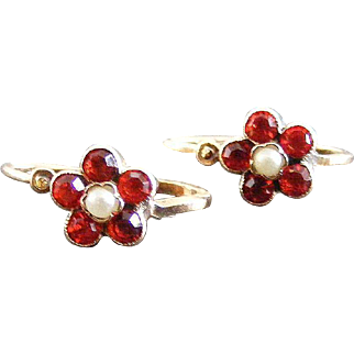 Antique Austrian Paste and Seed Pearl Earrings, 14 k Rose Gold, Vienna