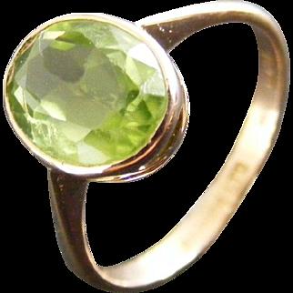 Art Deco Peridot Solitaire Ring, 15 k Rose Gold, Australian