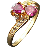 Vintage Ruby and Diamond Cross Over Ring