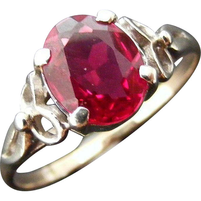 Vintage Mid Century 2 Ct Synthetic Ruby Ring