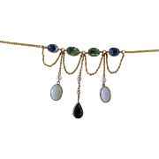 Edwardian Festoon Necklace with Blue Sapphires, Tourmaline, Seed Pearl and Opals