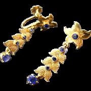 Vintage Floral Blue Sapphire Drop Earrings