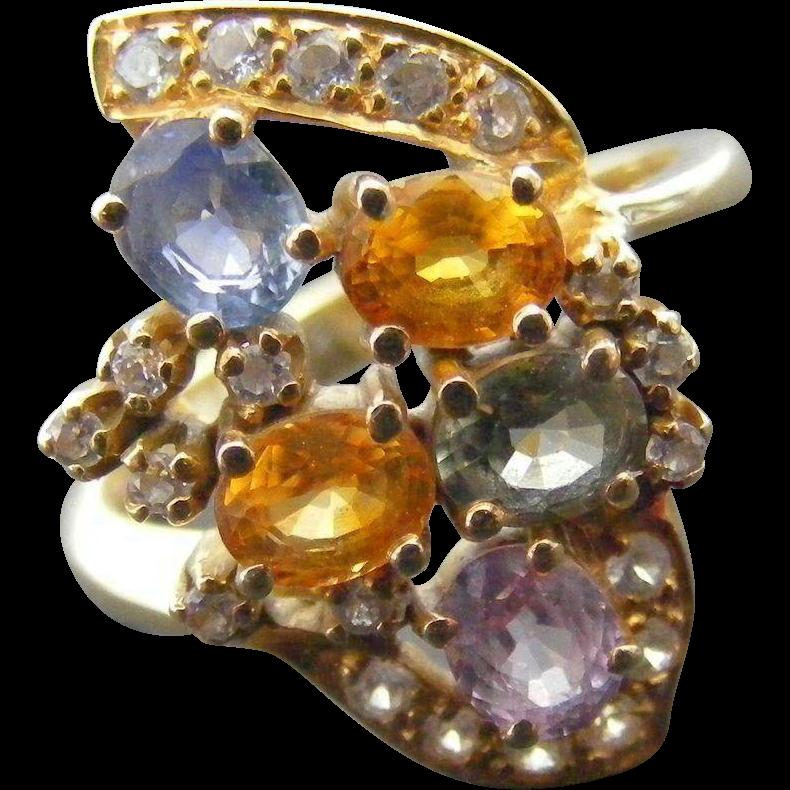 Vintage Multi Sapphire Dress Ring