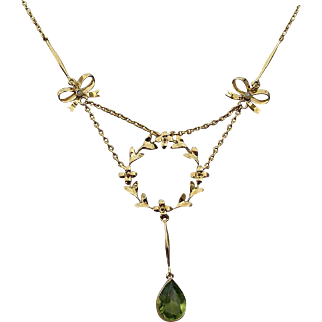 Edwardian Seed Pearl and Peridot Necklace, 14 k Yellow Gold