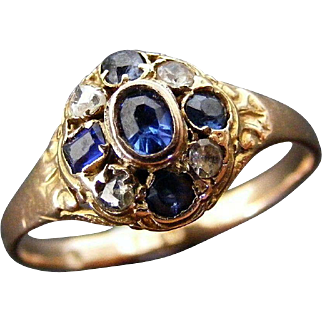 Antique Blue Sapphire, Rose Cut Diamonds and Spinel Cluster Ring, 15 K Light Rose Gold