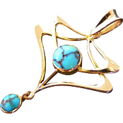 Art Nouveau Blue Turquoise 15 k Light Rose Gold Pendant