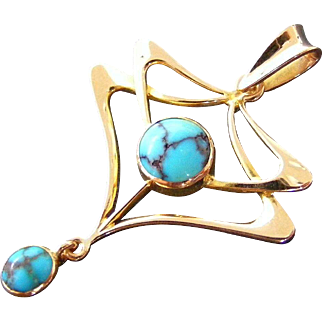 Art Nouveau Blue Turquoise 15 k Light Rose Gold Pendant