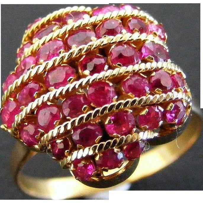 Vintage 1950s Ruby Cluster Dress Ring