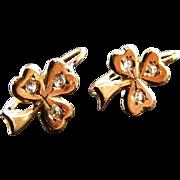 Antique Drop Earrings Rose Cut Diamonds 18 k Clover Leaf