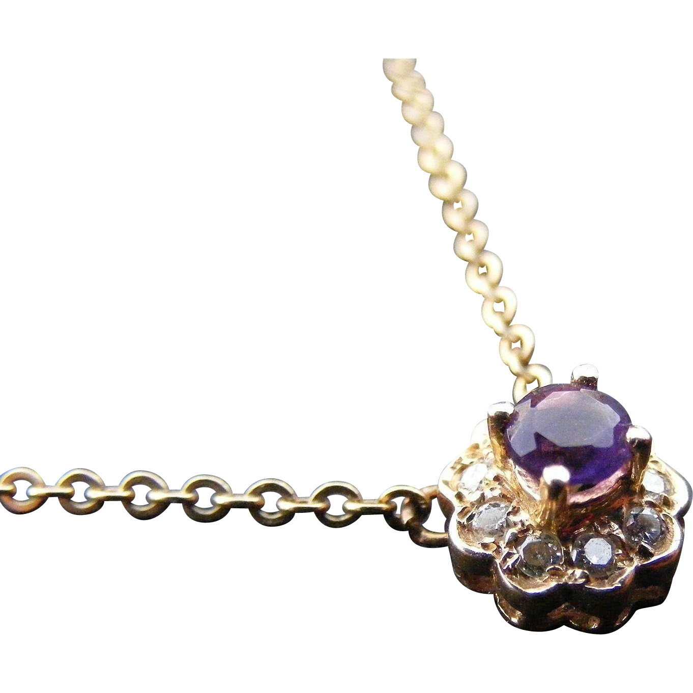 Antique Amethyst and Diamond Necklace, 14 k Gold
