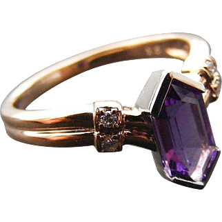 Art Deco Diamond and Amethyst Ring