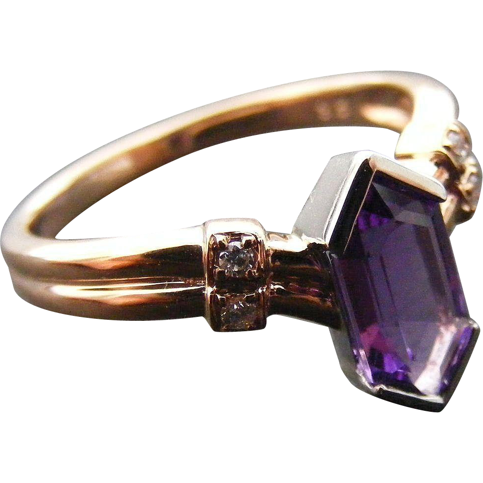 Art Deco Diamond and Amethyst Ring