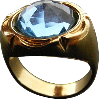 Art Deco Unisex Signet Ring with Blue Zircon