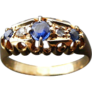 Vintage Blue Sapphire and Rose Cut Diamond Ring, 18 k Yellow Gold