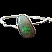 Vintage Australian Solid Freeform Opal Hinged Bracelet Sterling