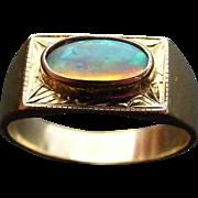Vintage Australian Solid Opal Signet Ring
