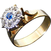 Vintage Diamond and Natural Blue Spinel Cluster Ring