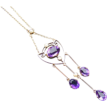 Art Nouveau Edwardian Amethyst and Seed Pearl Necklace