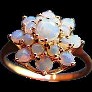Vintage Solid Opal Cluster Princess Ring, London 1966.