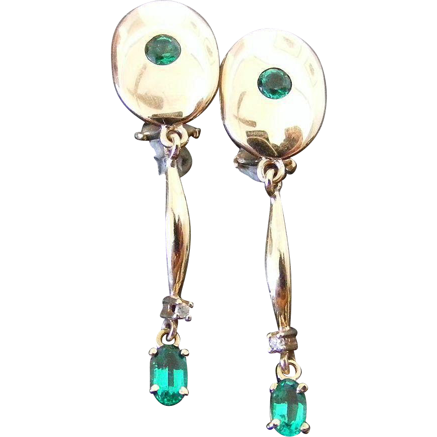 Vintage Rose Gold Diamond and Synthetic Emerald Clip On  Earrings