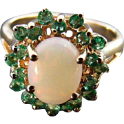 Vintage Australian Opal Cabochon and Natural Emerald Ring