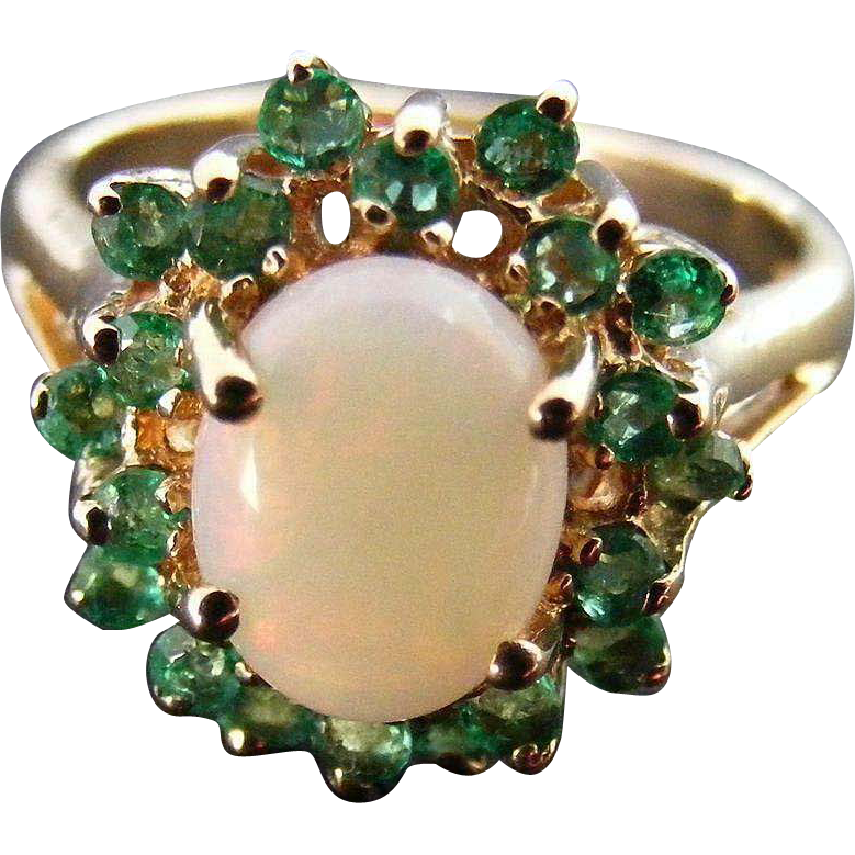 Vintage Australian Opal Cabochon and Natural Emerald Ring